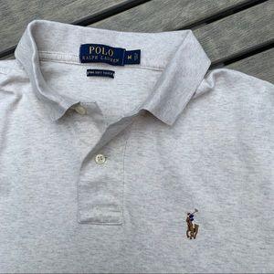 Men's Polo - Heathered grey/cream